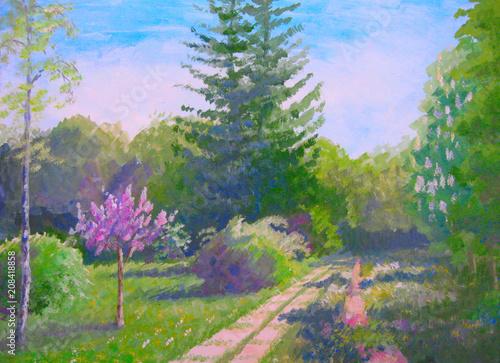 Deurstickers Groene Summer landscape colorful trees