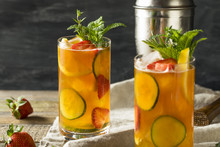 Sweet Refreshing Pimms Cup Cocktail With Fruit