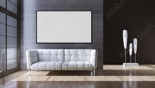 Fototapeta Modern bright interiors apartment with mockup poster frame 3D rendering illustration obraz