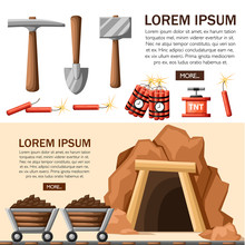 Cartoon Mine Entrance, And Tools For Mining And Quarrying. Retro Tunnel. Mining Company Concept. Old Mine. Flat Vector Illustration. Web Site Page And Mobile App Design. Place For Text