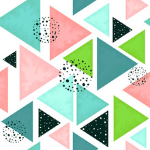 Seamless Pattern Of Triangles In Pastel Colors