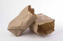 Two Crumpled Paper Bag