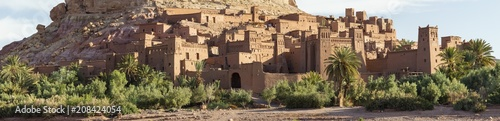 Poster Maroc panorama of old fortress with building on the rock hill in Morocco