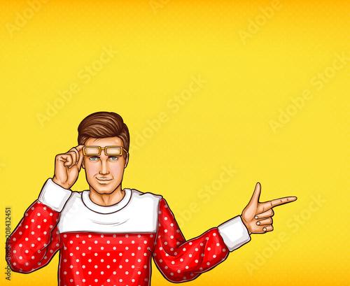 Wystrzał sztuki wektorowy mężczyzna wskazuje lub wskazuje z palcową nakreślenie ilustracją. Młody człowiek w swetrze i podniesionych okularach wskazuje lub wskazuje palcem ręki do kierunku lub informacji na żółtym tle