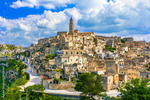 Fotobehang Historisch geb. Matera, Basilicata, Italy: Landscape view of the old town - Sassi di Matera, European Capital of Culture, at dawn
