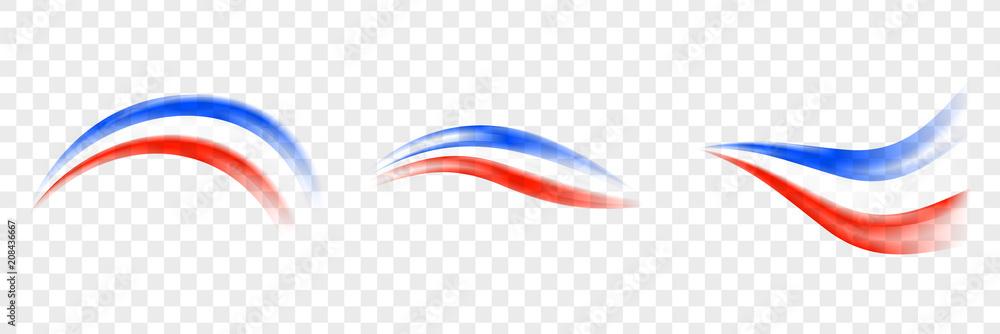 Fototapety, obrazy: Abstract brush France flag - Transparent brush France flag. Set France flag.