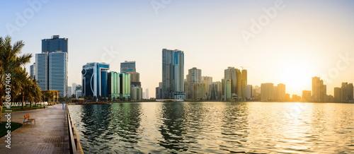 Fotografija  Panoramic view of Sharjah waterfront in UAE at sunset