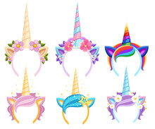 Set Of Unicorn Tiaras With Flowers And Leaf. Vector Fashion Accessory Headband. Head Band With Rainbow Style. Vector Illustration Isolated On White Background