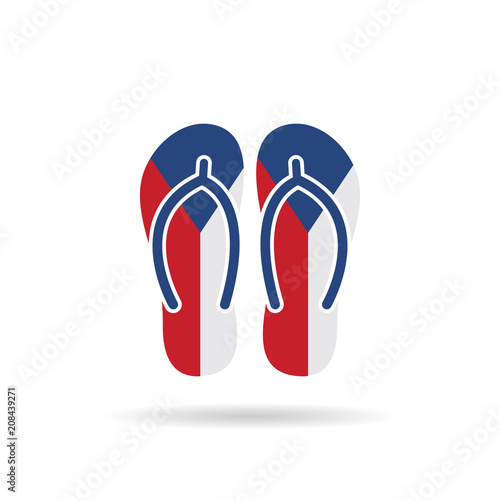 Czech Republic flag flip flop sandals icon on a white background. Poster