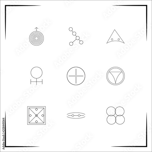 Plakat  Astrology vector icons set. Outlined linear icons