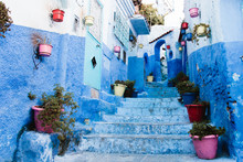 Blue Alley With Flower Pots In Medina, Chefchaouen, Moroco