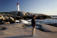 Man Views The Sea At Peggys Cove