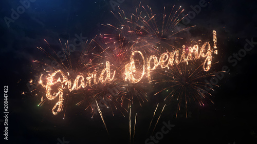 Fotografía  Grand Opening greeting text with particles and sparks on black night sky with colored fireworks on background, beautiful typography magic design