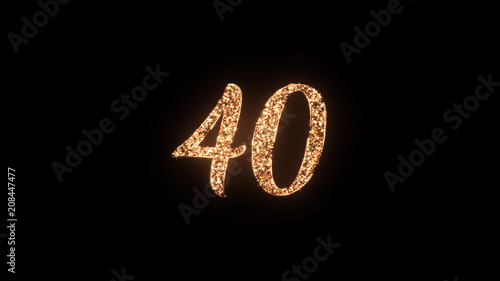 Photo Letter 40 greeting text with particles and sparks isolated on black background, beautiful typography magic design