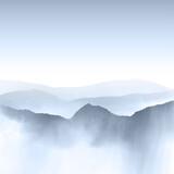 Watercolour mountain landscape - 208448689
