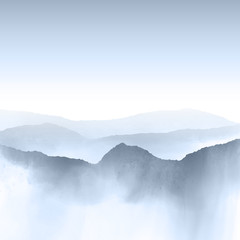 Naklejka Watercolour mountain landscape