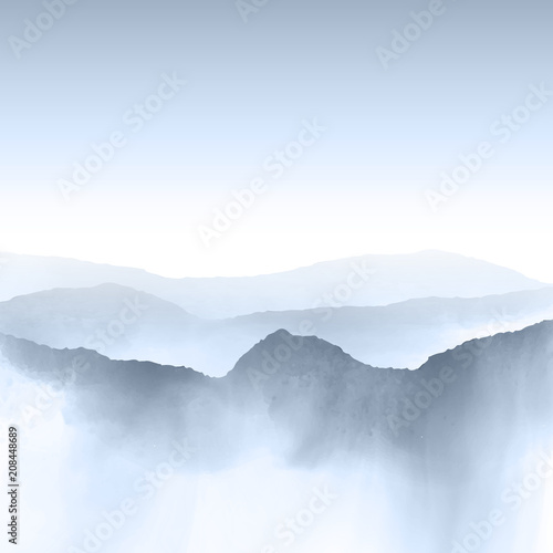 Poster White Watercolour mountain landscape