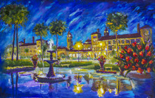 Night Cityscape Urban Oil Painting Flagler College, Ponce De Leon Hotel, St. Augustine, Florida. Fountain, Buildings, Lanterns, Palm Trees, Red Flowers Shine, Blue Sky Is Reflected In Water