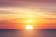 canvas print picture - Big sun and sea sunset