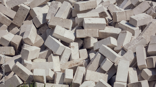 Fototapety, obrazy: Gray bricks on construction site as background