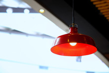 Kitchen Interior Or Restaurant With Big Red Lamp In Golden Light.loft Style, Modern Living Room Red Lamp