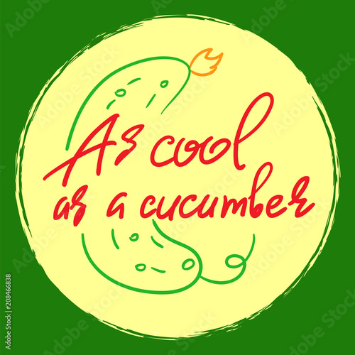 Fotografía  As cool as a cucumber - handwritten funny motivational quote