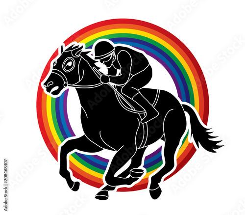Fotografía Jockey riding horse, hose racing designed on line rainbows background graphic vector