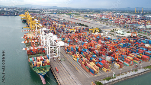 Landscape from bird eye view for Laem chabang logistic portLandscape from bird eye view for Laem chabang logistic port