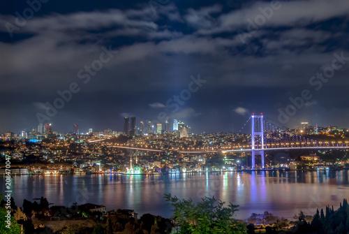 Fotografie, Obraz Istanbul, Turkey, 29 October 2007: Bosphorus Bridge at night