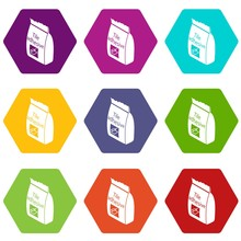 Tile Adhesive Icons 9 Set Colo...