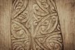 Leinwanddruck Bild - Brown Wooden Maori Carving Design