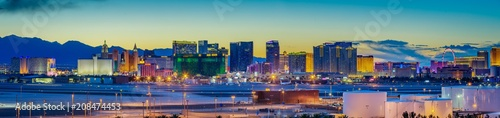 Skyline view at sunset of the famous Las Vegas Strip located in world class hote Canvas Print