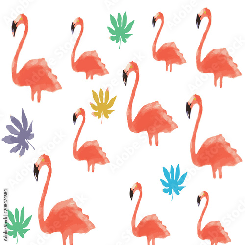 Canvas Prints Flamingo Bird Flamingo Pattern Illustration