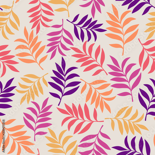 Poster Kunstmatig Tropical background with palm leaves. Seamless floral pattern. Summer vector illustration