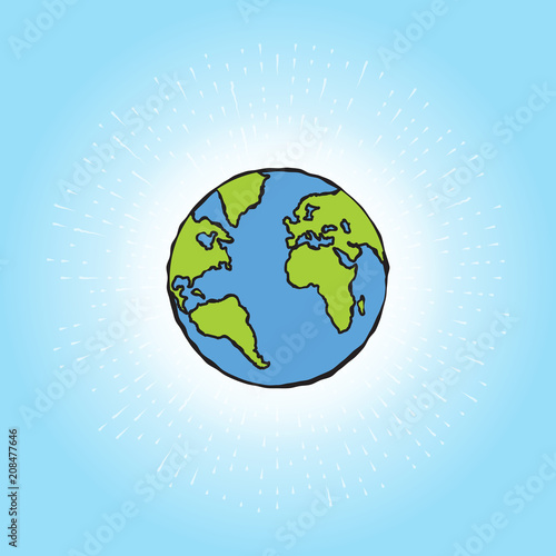 Globe Icon Earth Planet Shining In Blue Space With Sun Rays Global