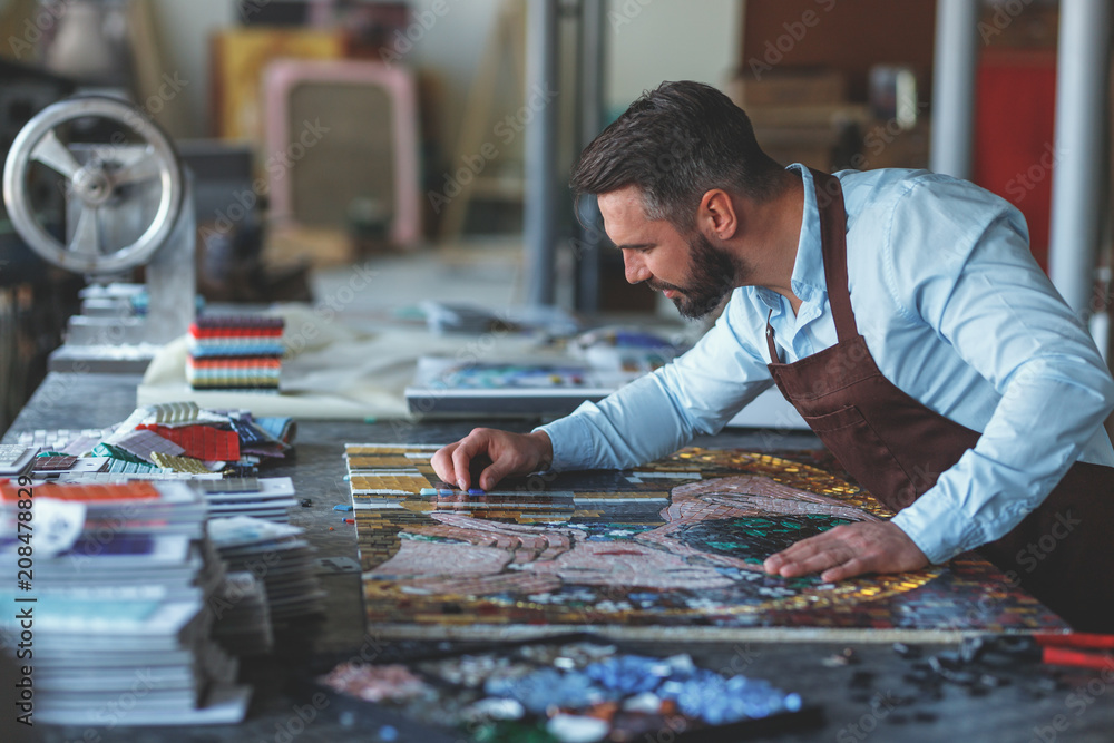 Fototapety, obrazy: Working man with a mosaic