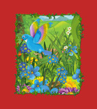cartoon scene with beautiful bird on the meadow - blue bird - illustration for children