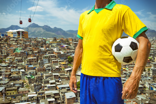 Juliste  Brazilian football player standing in vintage style shirt holding soccer ball in