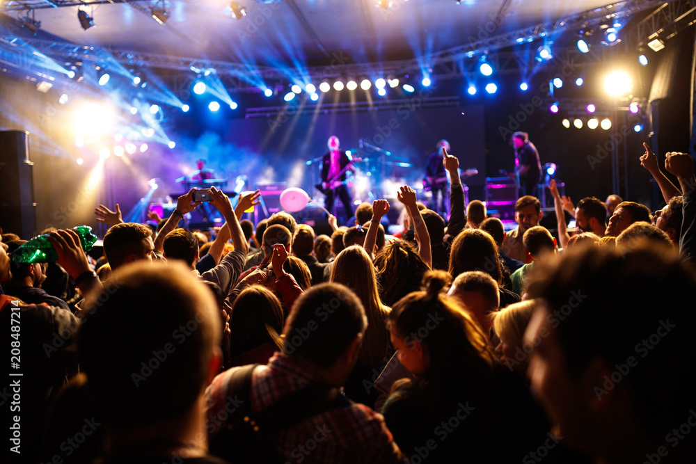 Fototapety, obrazy: Crowd of young people on concert