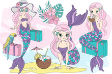 Sea Ocean Tropical Summer Vector Colorful Illustration MERMAID VACATION Art Projects, Prints, T-shirts, Posters, Bags, Scrapbooking, Cardmaking, Planner Stickers, Postcards, Invitations, Fabrics