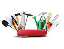 Swiss Universal Knife With Garden Tools. All In One. Creative 3d Illustration
