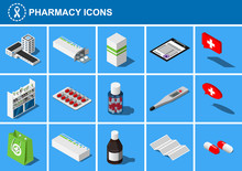 Set Of Isometric Pharmacy Icon...