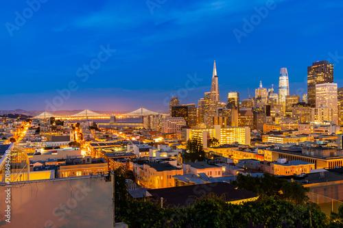 Fotobehang Amerikaanse Plekken San Francisco downtown skyline