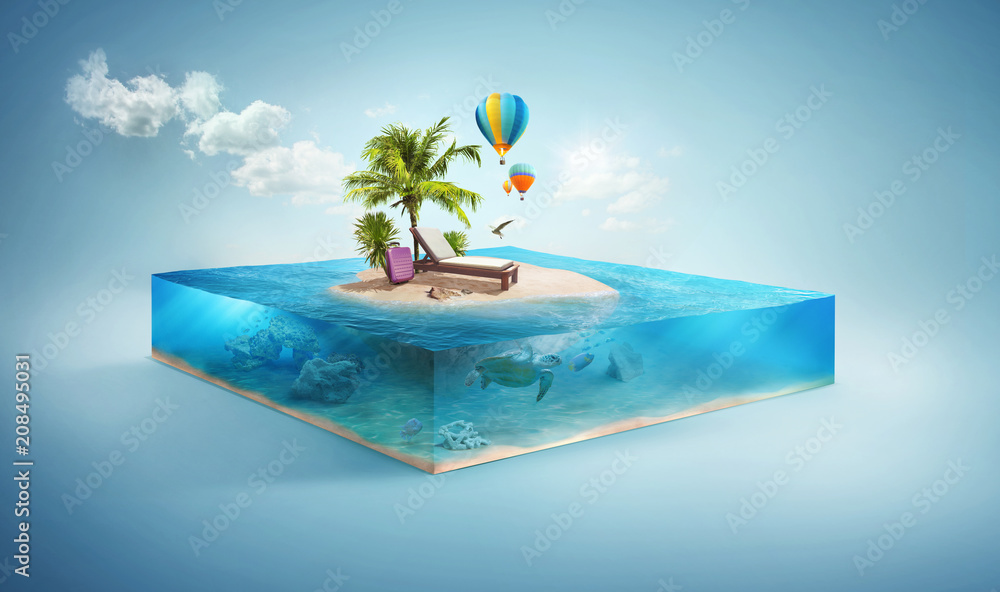 Fototapeta Travel and vacation background. 3d illustration with cut of the sea and beautiful island. Baby island isolated on white.