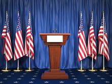 Podium Speaker Tribune With US...