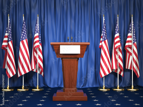 Podium speaker tribune with USA flags Wallpaper Mural
