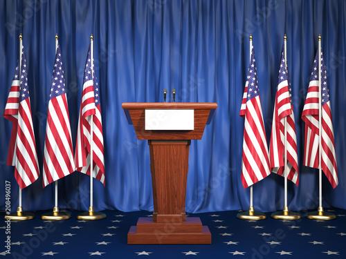 Fotografie, Tablou Podium speaker tribune with USA flags