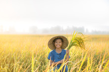 Girl Holding Rice Happy In The...