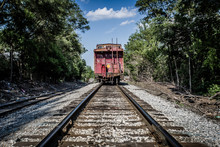 Long Shot Of Abandoned Caboose