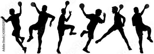 Fotografia Handball player in action, attack shut in jumping vector silhouette illustration